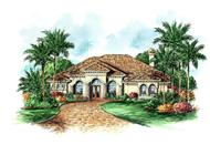 This image shows the exterior for these Mediterranean House Plans.