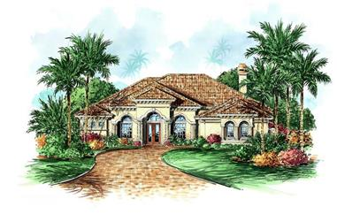 4-Bedroom, 3490 Sq Ft Mediterranean House Plan - 133-1020 - Front Exterior