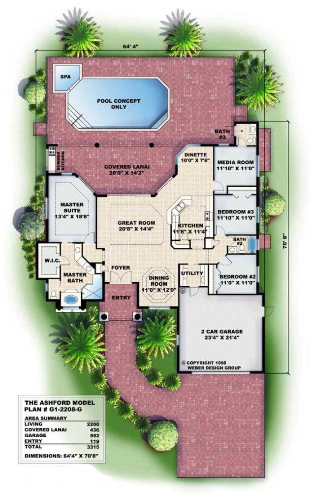 2208-Gflr1 Large Single Story House Plans Florida Lania on