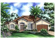 Mediterranean Homeplans WDGG1-2208-G color elevation.