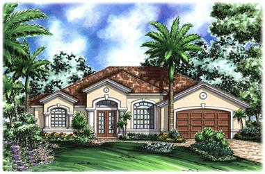 3-Bedroom, 2208 Sq Ft Florida Style House Plan - 133-1021 - Front Exterior
