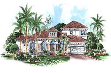 4-Bedroom, 3293 Sq Ft Coastal House Plan - 133-1022 - Front Exterior