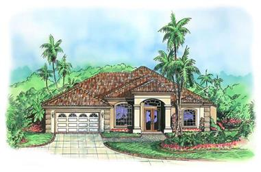 3-Bedroom, 2195 Sq Ft Mediterranean Home Plan - 133-1023 - Main Exterior