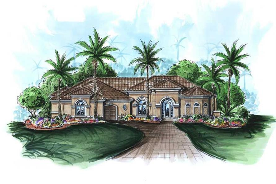 This image shows the exterior of these Mediterranean Plans, Florida Designs.