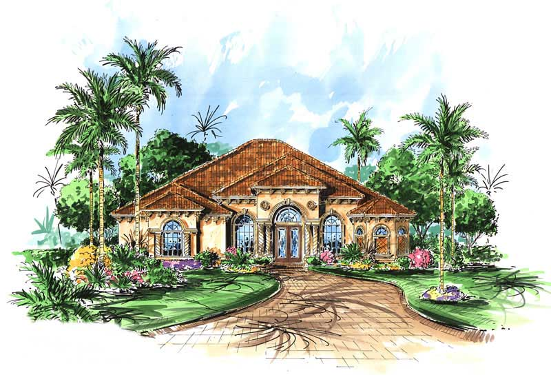 3 Bedrm, 2878 Sq Ft Mediterranean House Plan #133-1028