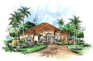 3-Bedroom, 2878 Sq Ft Mediterranean Home Plan - 133-1028 - Main Exterior