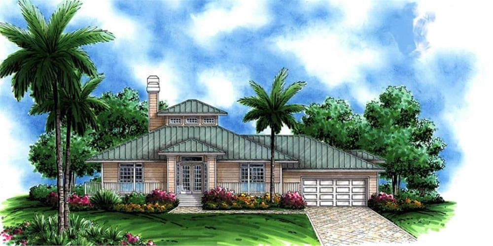 Front elevation of Coastal home (ThePlanCollection: House Plan #133-1031)