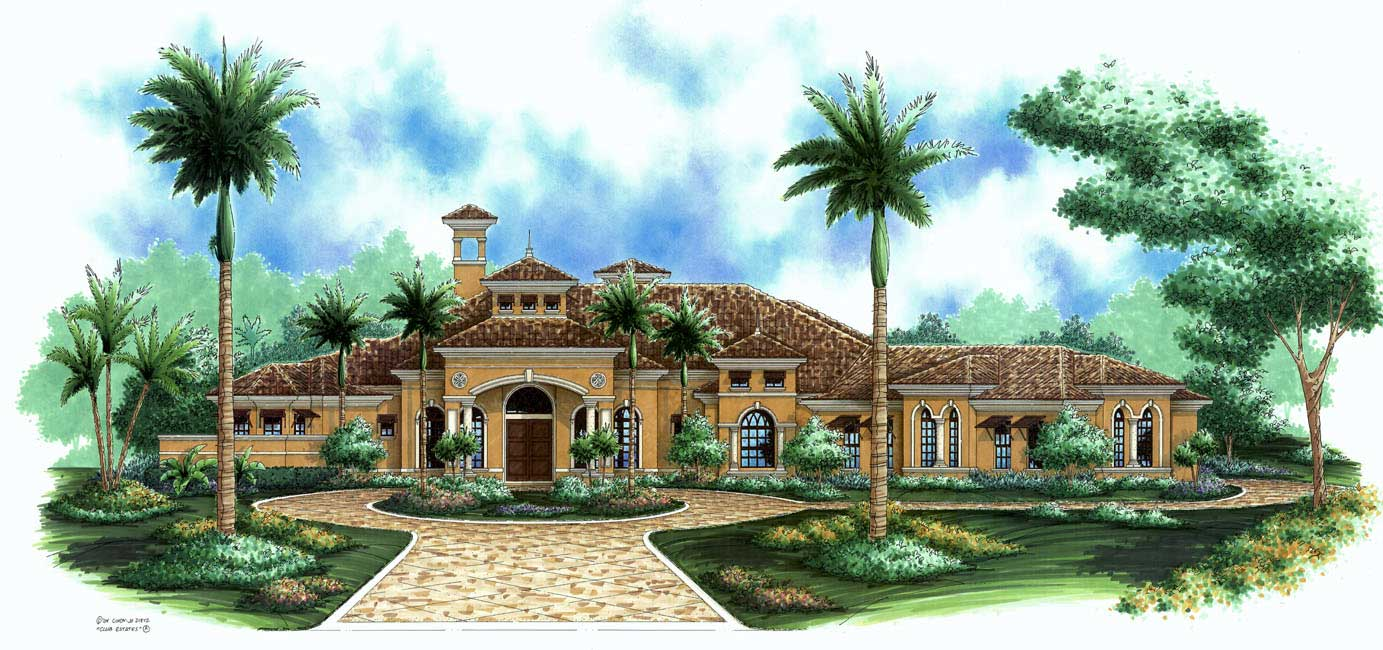 F1-3773-G-Santiago-Elevation Large Single Story House Plans Florida Lania on