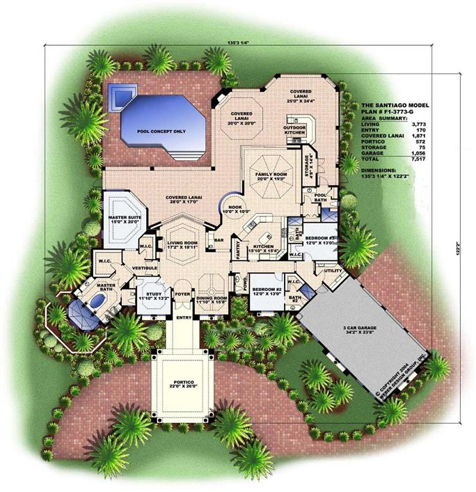 ... Floor Plan First Story Of Florida Style Plan #133 1032 Design Ideas