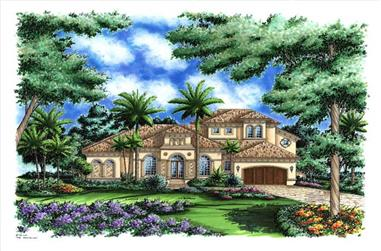 4-Bedroom, 4014 Sq Ft Florida Style Home Plan - 133-1033 - Main Exterior