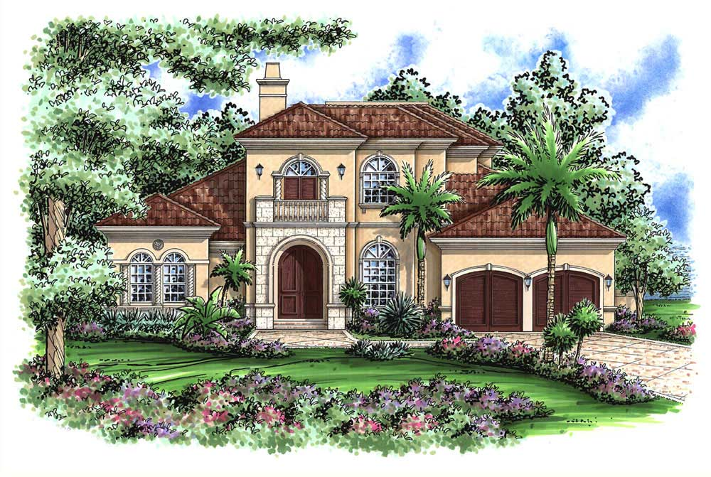 Mediterranean designs florida style home plans house for Two story mediterranean house plans