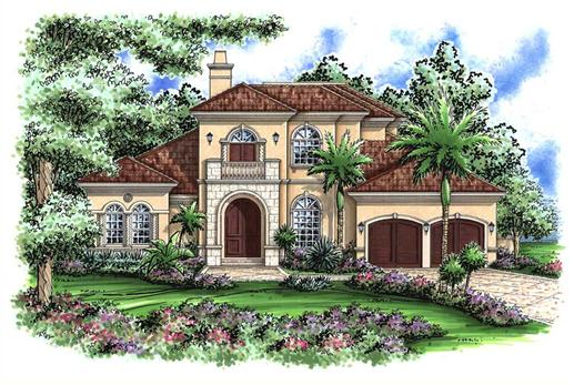 This image shows the Mediterranean style for this set of house plans.