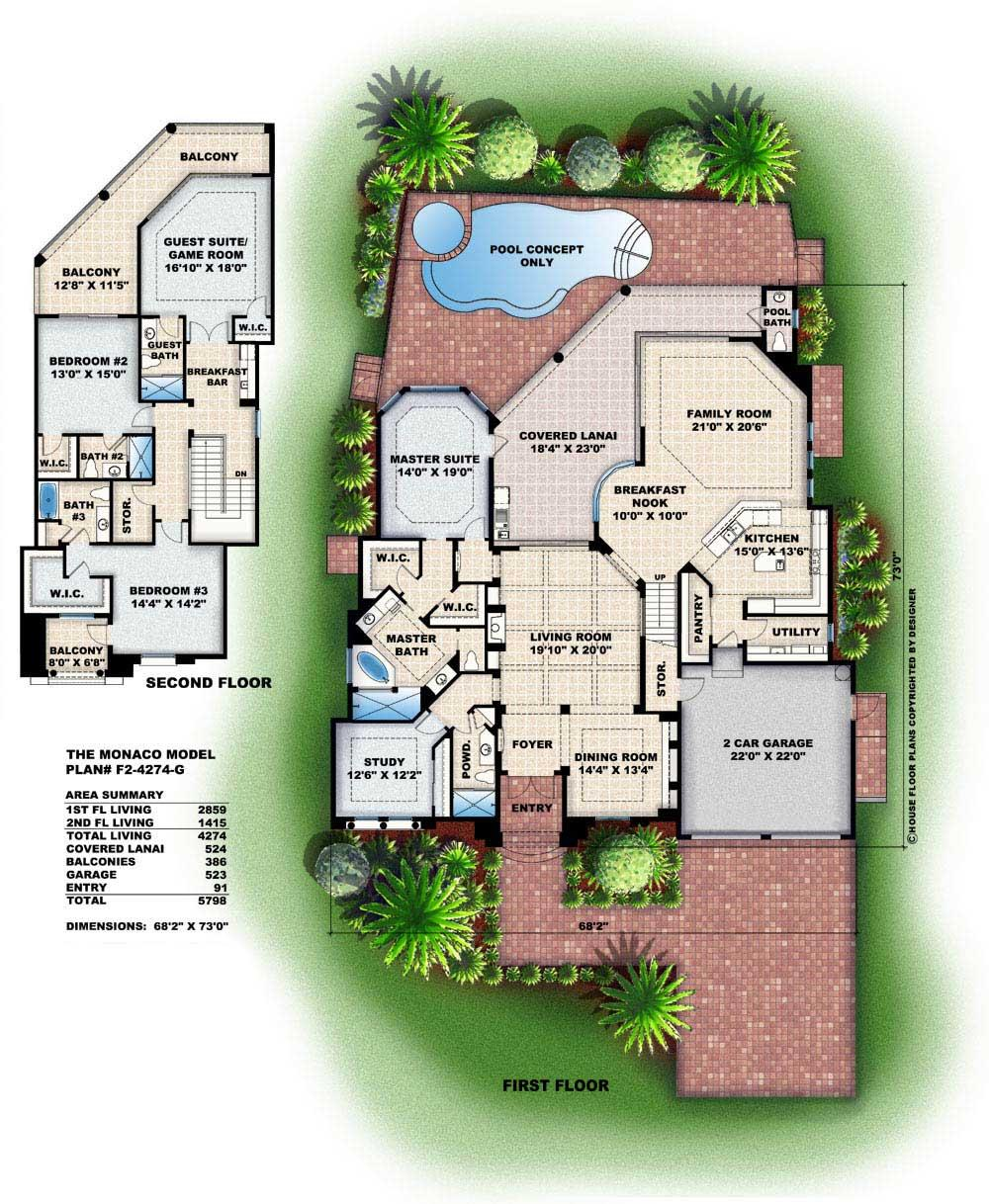 Floor Plans for this Mediterranean set of house plans.