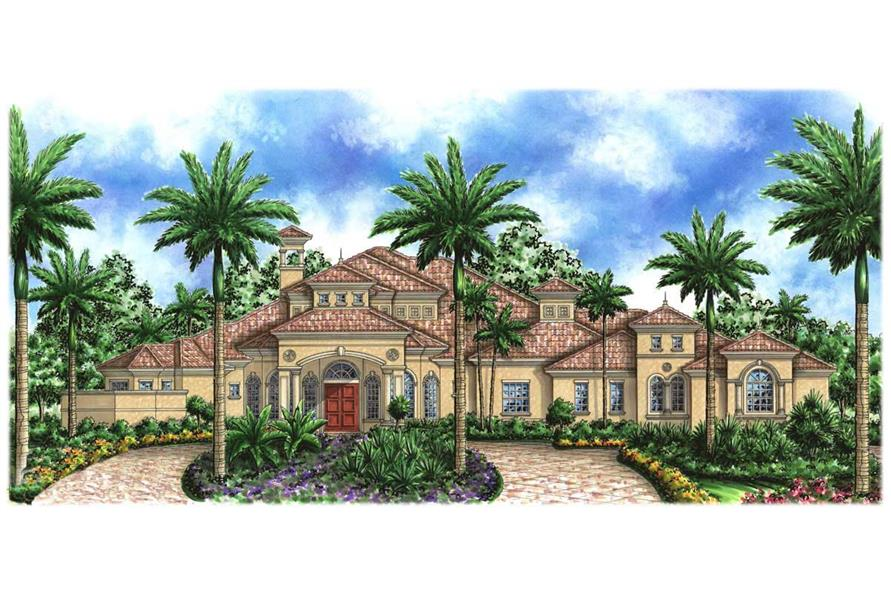 4-Bedroom, 5000 Sq Ft Florida Style Home Plan - 133-1035 - Main Exterior