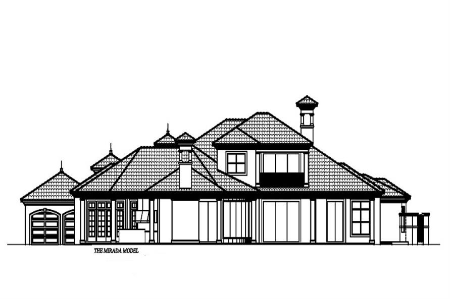 Home Plan Rear Elevation of this 4-Bedroom,5000 Sq Ft Plan -133-1035