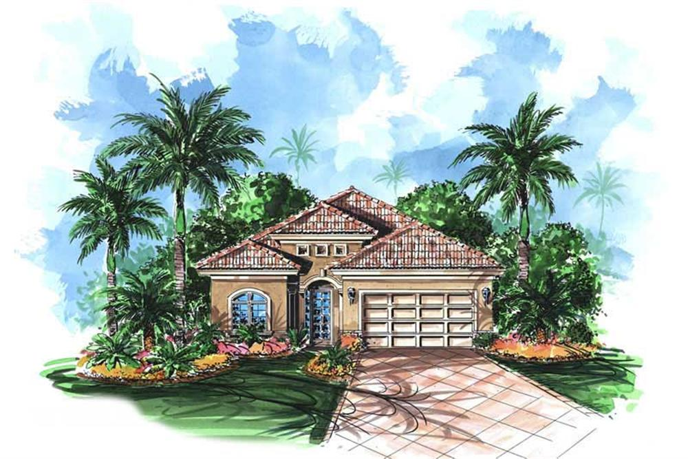 Mediterranean house plans WDG-G1-2208 color rendering.