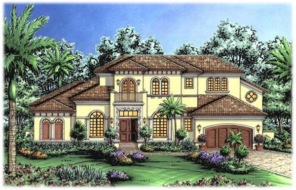"Mediterranean Homeplans ""The Vicenza House Plan"" color rendering."