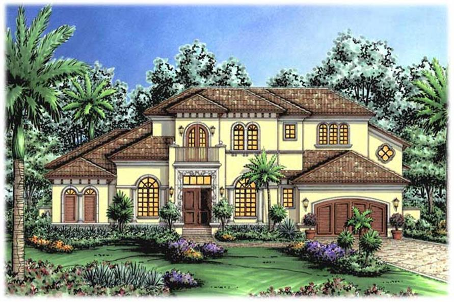 4-Bedroom, 4496 Sq Ft Spanish Home Plan - 133-1037 - Main Exterior