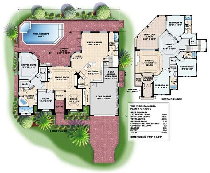 Mediterranean Houseplans Home Design WDGF24496G 13282