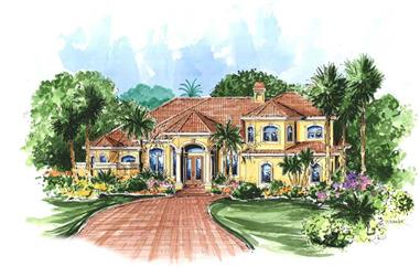 4-Bedroom, 3694 Sq Ft Mediterranean House Plan - 133-1039 - Front Exterior