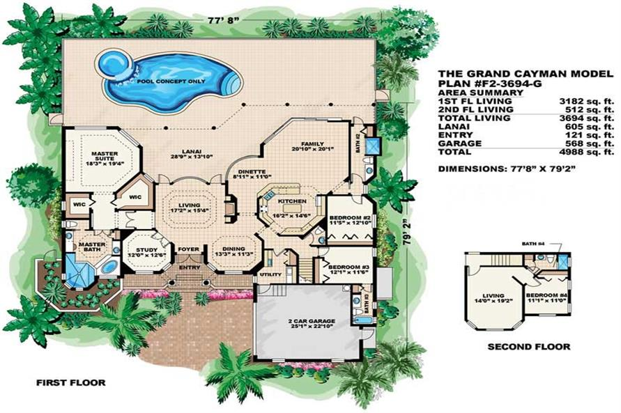 FLOOR PLAN of this 4-Bedroom,3694 Sq Ft Plan -3694