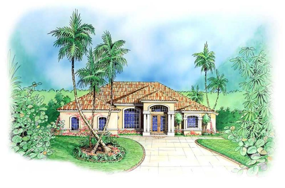 Mediterranena House Plans color front elevation.