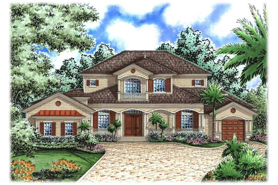 Mediterranean house plans florida home design wdgg2 4280 for Mediterranean elevation