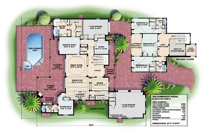 Mediterranean House Plans florida mediterranean house plan 63132 level one Floor Plans For These Mediterranean House Plans