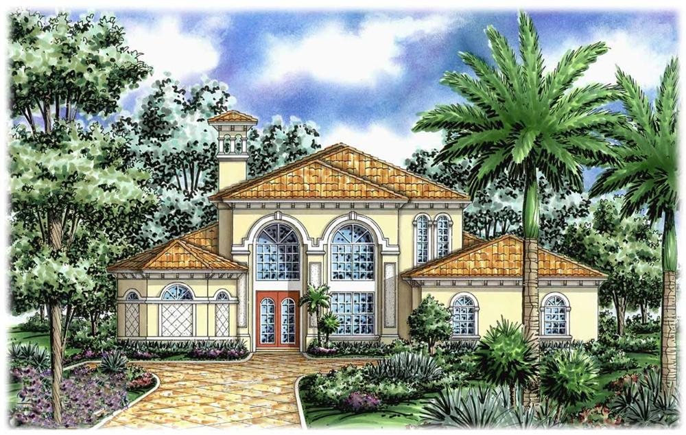 Mediterranean house plans front elevation.