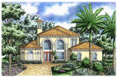 3-Bedroom, 3250 Sq Ft Florida Style House Plan - 133-1043 - Front Exterior