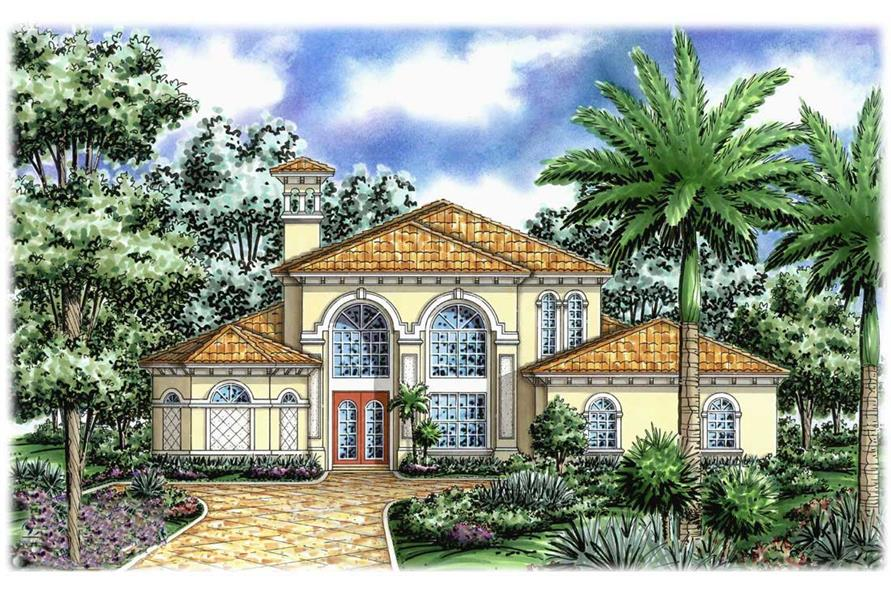 Mediterranean house plans front elevation.