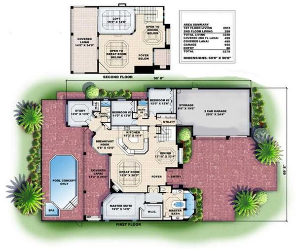 Floor Plans for this set of Mediterranean style house plans.