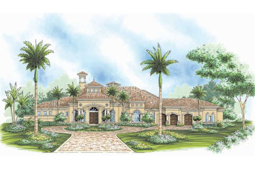 3-Bedroom, 3836 Sq Ft Florida Style House Plan - 133-1046 - Front Exterior