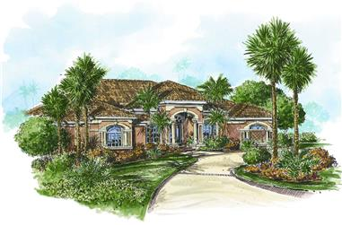 4-Bedroom, 3357 Sq Ft Florida Style House Plan - 133-1047 - Front Exterior