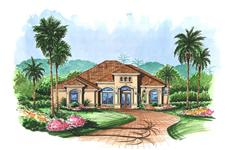 Mediterranen House Plans color rendering.