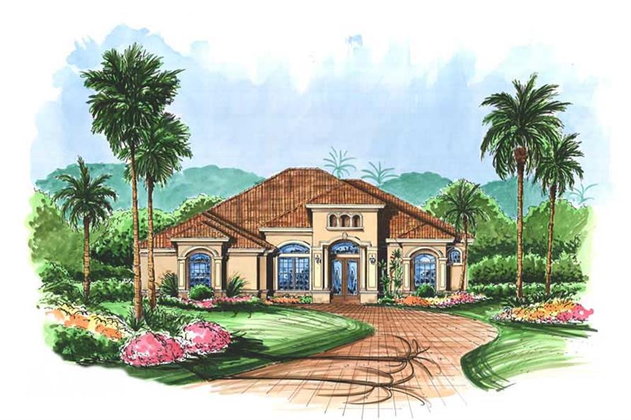 3-Bedroom, 2832 Sq Ft Mediterranean Home Plan - 133-1048 - Main Exterior