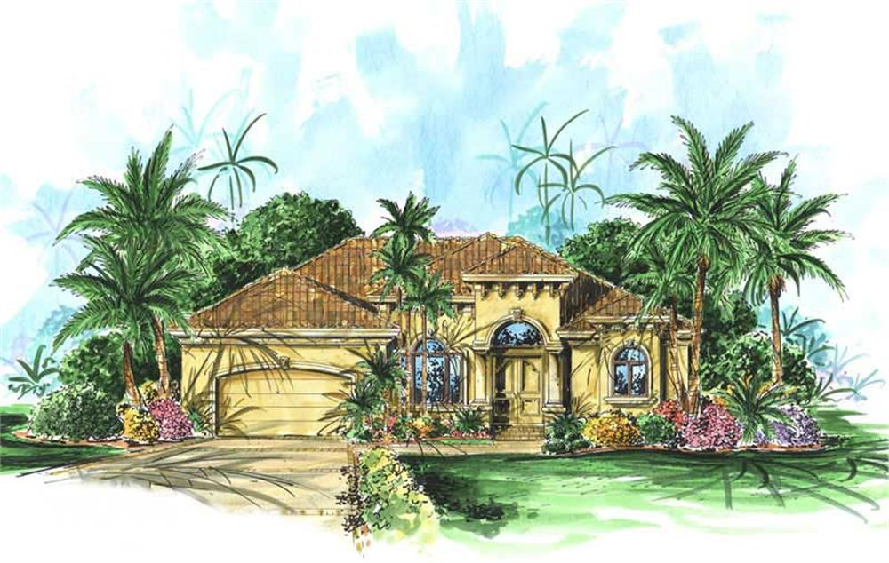 Mediterranean house plans color front elevaiton.