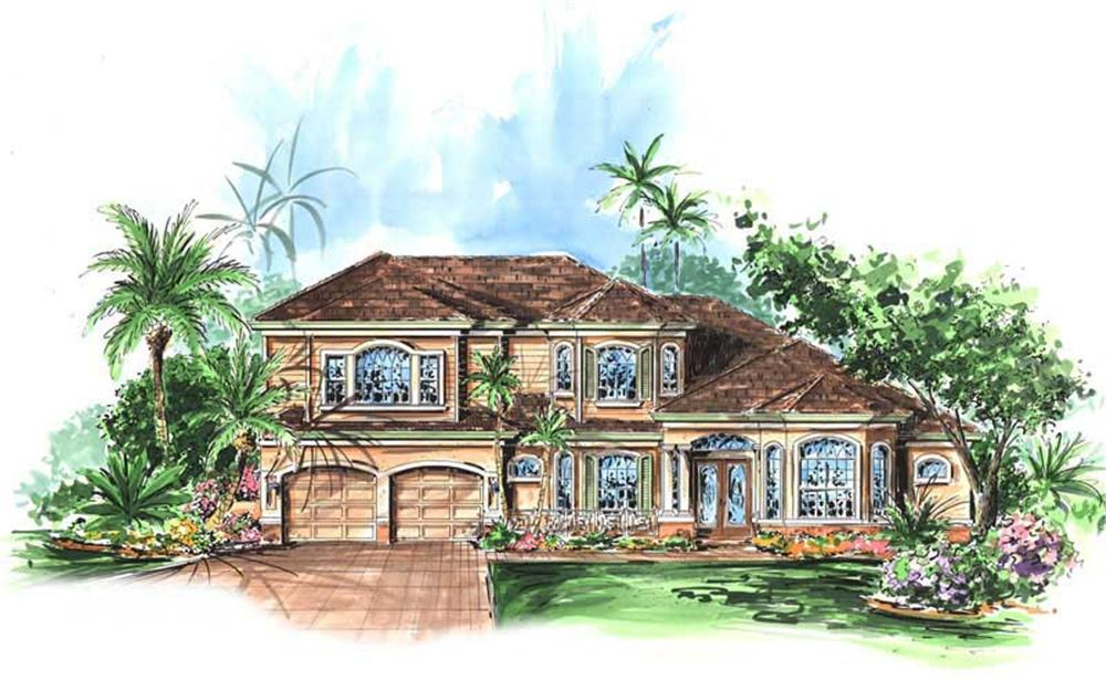 Front elevation of Coastal home (ThePlanCollection: House Plan #133-1053)