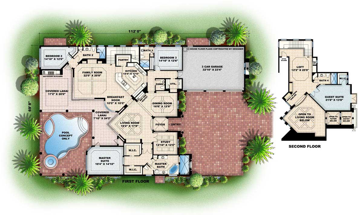 Mediterranean House Plans Florida Home Design WDGF2 4405