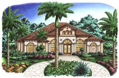 4-Bedroom, 3357 Sq Ft Florida Style House Plan - 133-1056 - Front Exterior