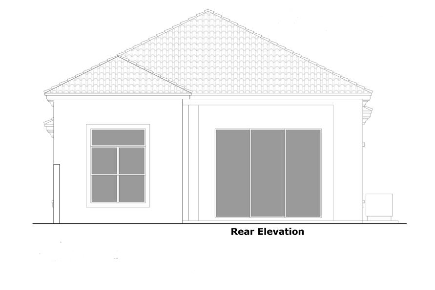 Home Plan Rear Elevation of this 2-Bedroom,1802 Sq Ft Plan -133-1057