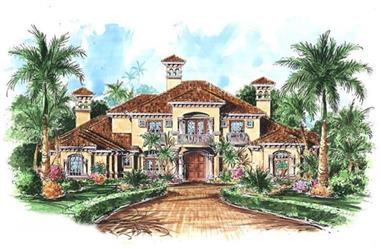 5-Bedroom, 6924 Sq Ft Luxury House Plan - 133-1059 - Front Exterior