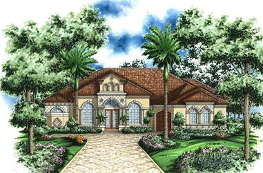 3-Bedroom, 3122 Sq Ft Spanish House Plan - 133-1060 - Front Exterior