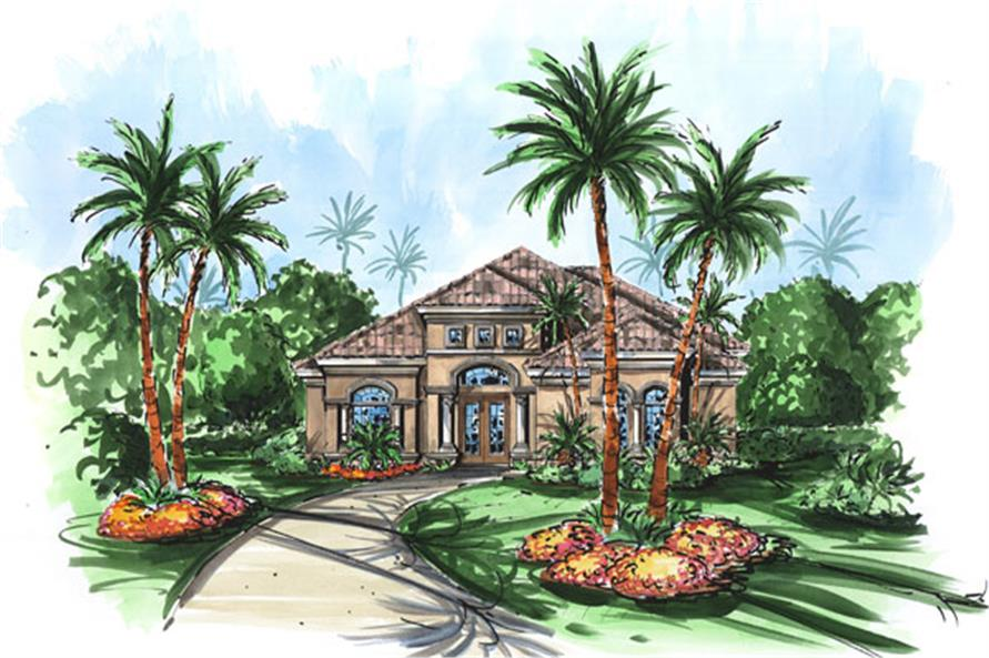 3-Bedroom, 2692 Sq Ft Mediterranean House Plan - 133-1061 - Front Exterior