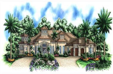 3-Bedroom, 4173 Sq Ft Mediterranean House Plan - 133-1062 - Front Exterior