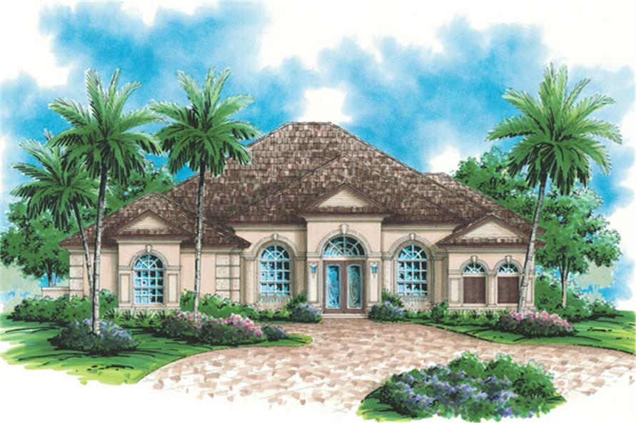 3-Bedroom, 2897 Sq Ft Mediterranean House Plan - 133-1063 - Front Exterior