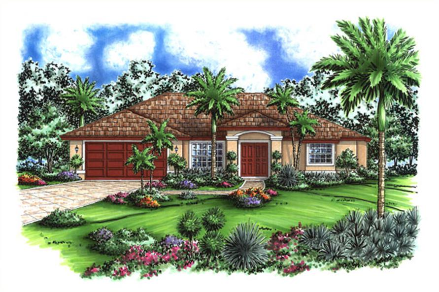 3-Bedroom, 1565 Sq Ft Mediterranean House Plan - 133-1064 - Front Exterior