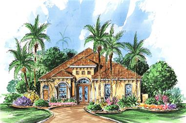 3-Bedroom, 2278 Sq Ft Mediterranean Home Plan - 133-1065 - Main Exterior