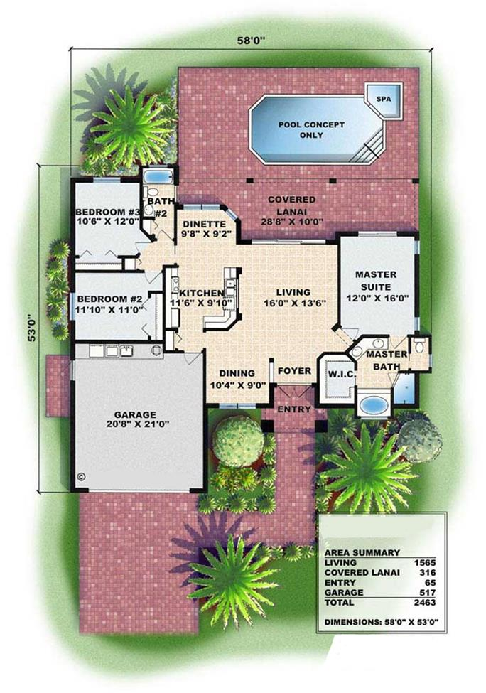 Mediterranean House Plans florida mediterranean house plan 71532 level one Floor Plans For These Mediterranean House Plans