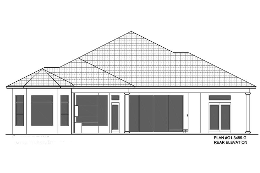 Home Plan Rear Elevation of this 3-Bedroom,3489 Sq Ft Plan -133-1086